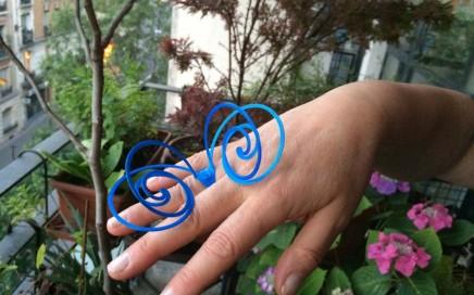 Bague bleue en impression 3D Création Gregoire Simonnet