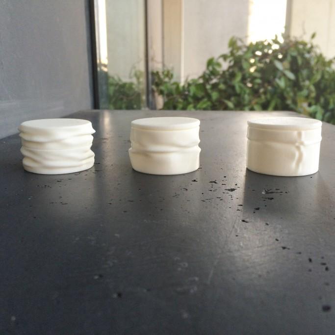 Trois boite plissées fermées, impression 3D