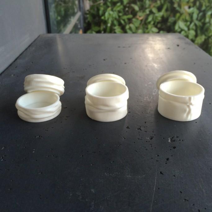 Trois boite plissées ouvertes, impression 3D